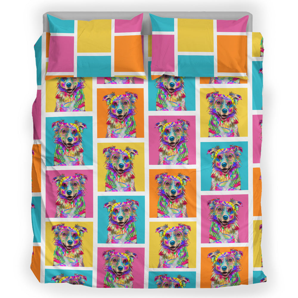 Australian Shepherd Dog Breed Duvet Cover Bedding Set (Colorful Rectangles)