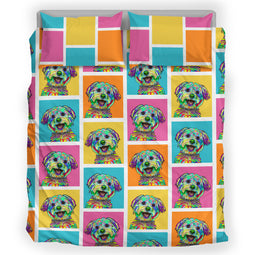 Yorkshire Terrier Dog Breed Duvet Cover Bedding Set (Colorful Rectangles)