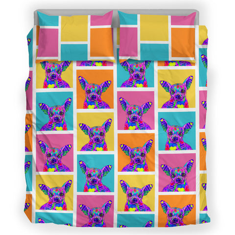 Chihuahua Dog Breed Duvet Cover Bedding Set (Colorful Rectangles)
