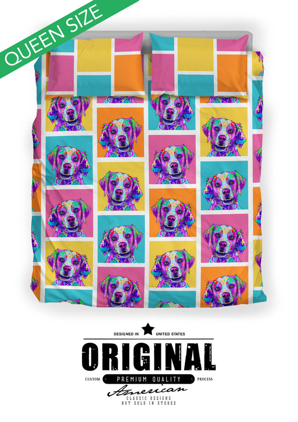 Brittany Dog Breed Duvet Cover Bedding Set (Colorful Rectangles)