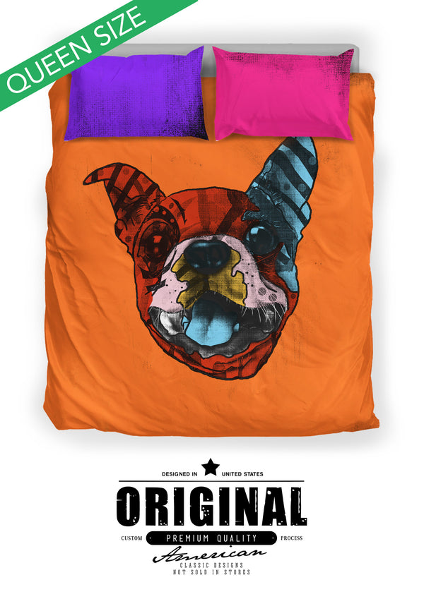 Boston Terrier Dog Breed Bed Sheets Duvet Cover Bedding Set (Andy Warhol Style)