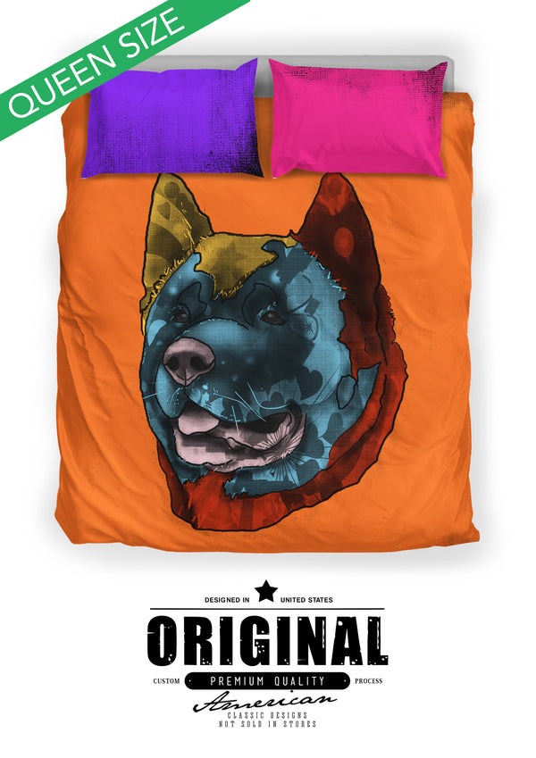 Akita Dog Breed Duvet Cover Bedding Set (Andy Warhol Style)