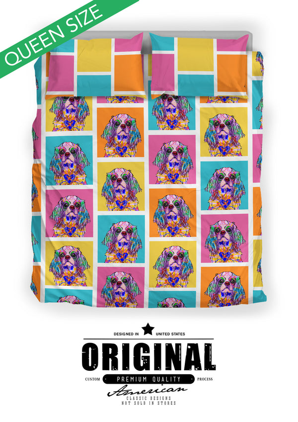 Cavalier King Charles Spaniel Dog Breed Bed Sheets Duvet Cover Bedding Set (Colorful Rectangles)