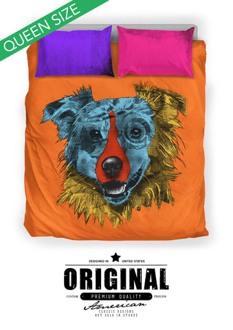 Australian Shepherd Dog Breed Duvet Cover Bedding Set (Andy Warhol Style)