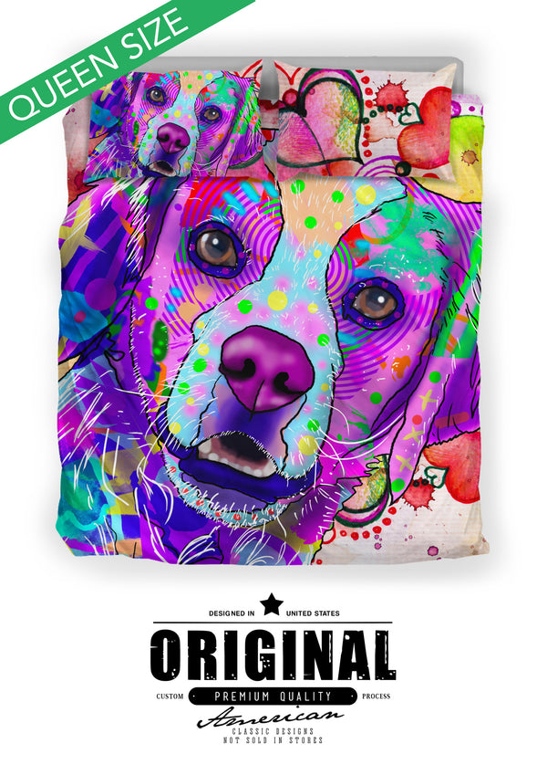 Brittany Dog Breed Bed Sheets Duvet Cover Bedding Set (Watercolor Dreams)
