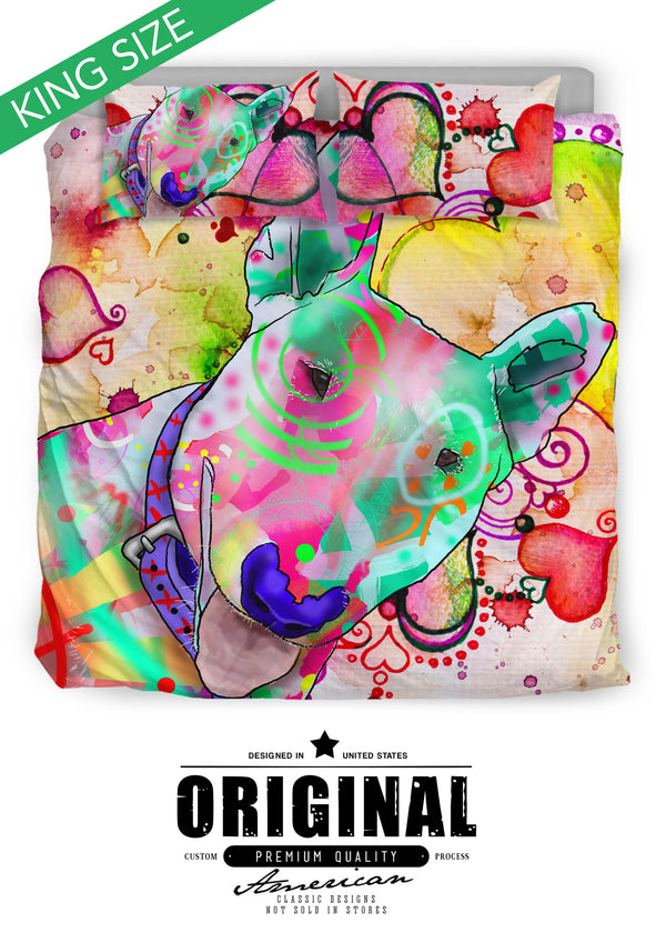 Bull Terrier Dog Breed Bed Sheets Duvet Cover Bedding Set (Watercolor Dreams)