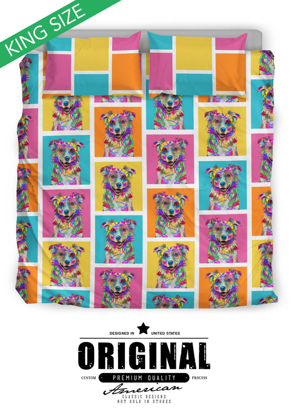 Australian Shepherd Dog Breed Bed Sheets Duvet Cover Bedding Set (Colorful Rectangles)
