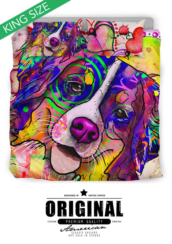 Bernese Mountain Dog Breed Bed Sheets Duvet Cover Bedding Set (Watercolor Dreams)