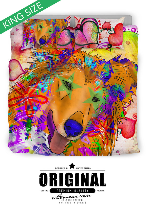 Collie Dog Breed Duvet Cover Bedding Set (Watercolor Dreams)