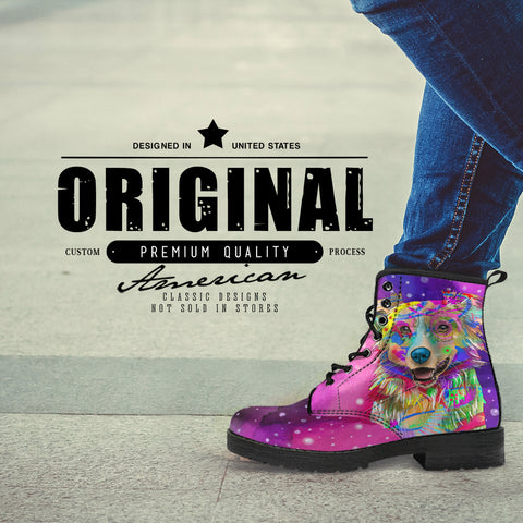 Australian Shepherd Dog Women's Premium Leather Boots (Watercolor Dreams)
