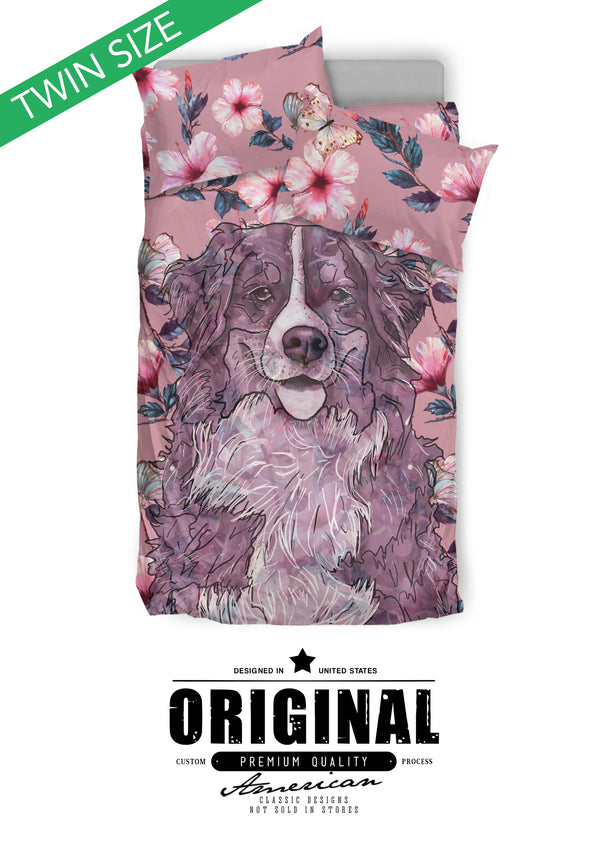 Bernese Mountain Dog Breed Bed Sheets Duvet Cover Bedding Set (Pink Flowers)