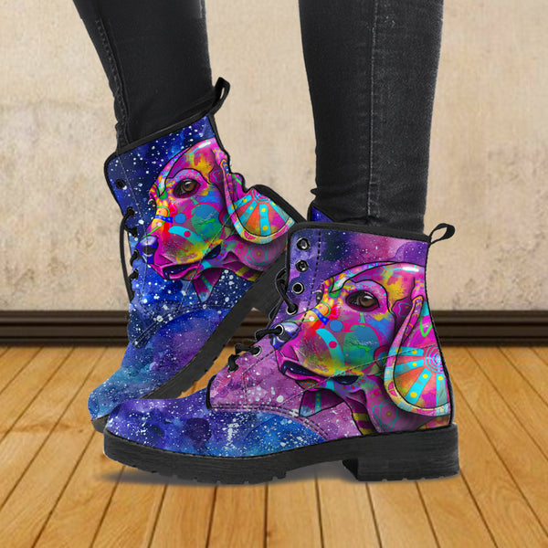 Beagle Dog Women's Premium Leather Boots (Cosmic Stardust)