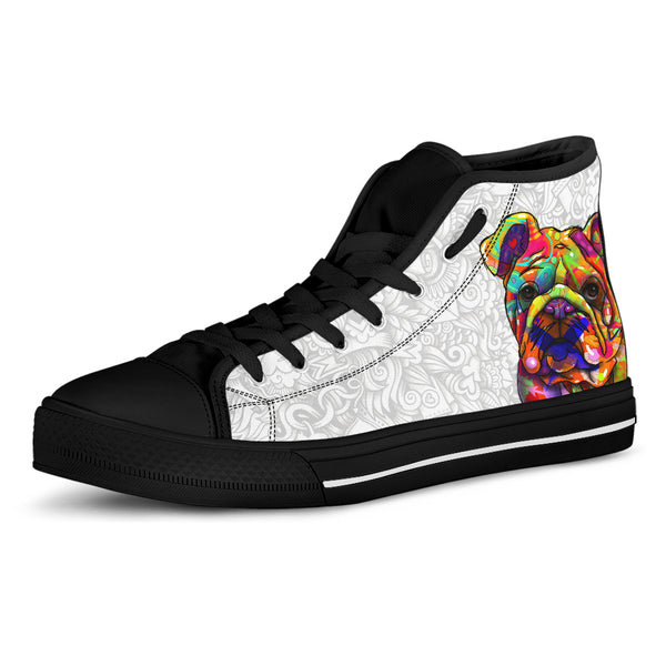 Bulldog Dog Men's Light Love Doodles High Top Canvas Shoes (Black Sole)