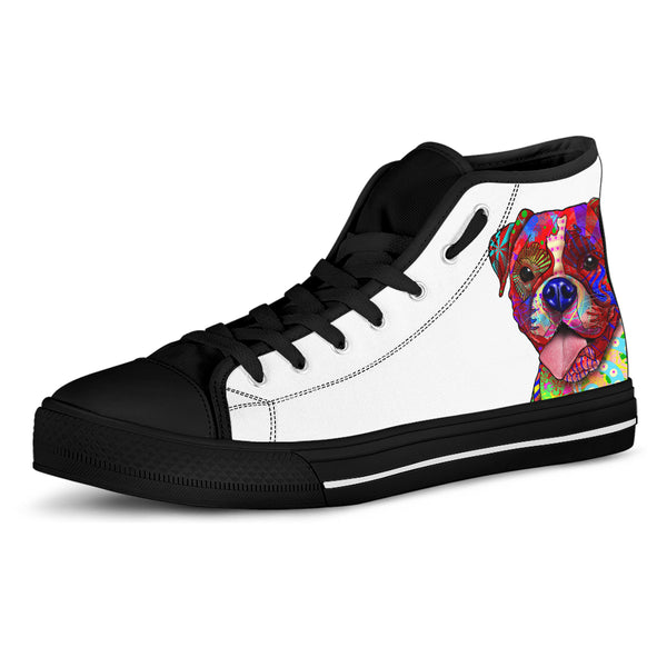 Boxer Dog Men's Plain White High Top Canvas Shoes (Black Sole)
