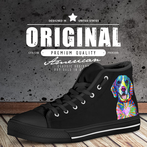 Beagle Dog Men's Plain Black High Top Canvas Shoes (Black Sole)