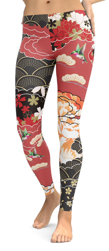 Hummingbird Tropical Flower Leggings