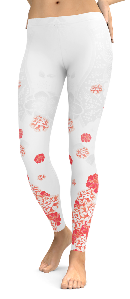 White Tropical Flower Leggings