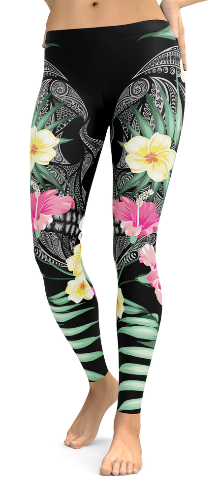Designer Tropical Skull Leggings