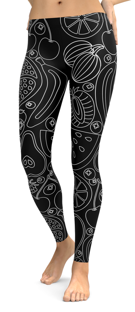 Black And White Tropical Fruit Leggings