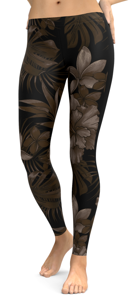 Black Muted Tones Tropical Flower Leggings