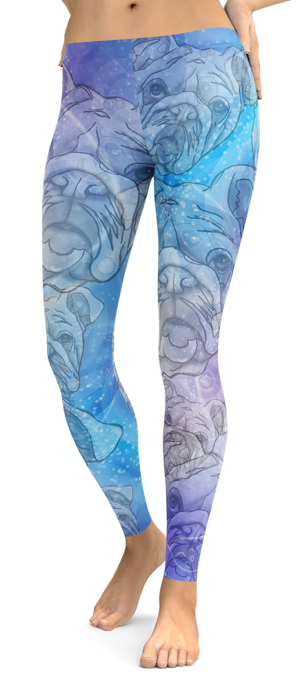 Bulldog Dog Breed Leggings (Blue Dreams)