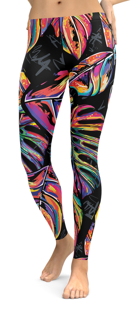 Colorful Tropical Leaves Leggings