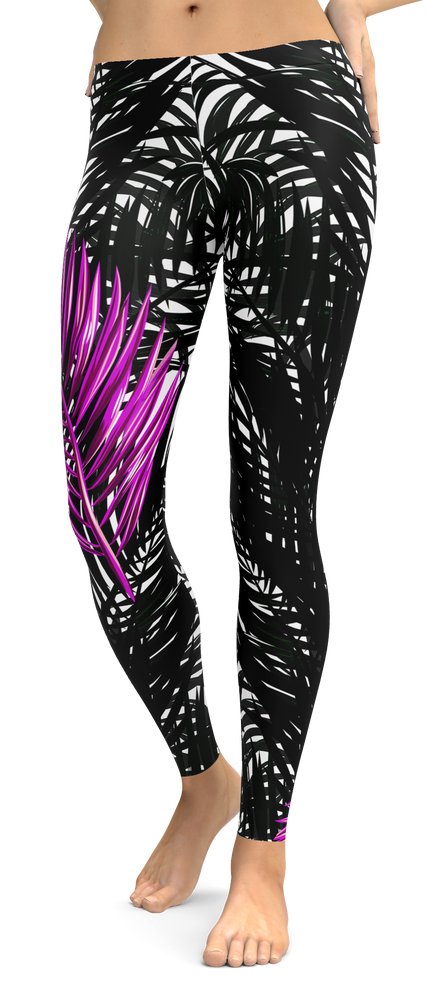 Purple Palms Tropical Leggings