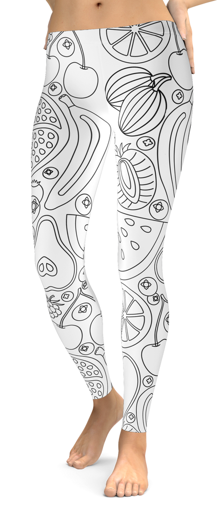 White Tropical Fruit Lines Leggings
