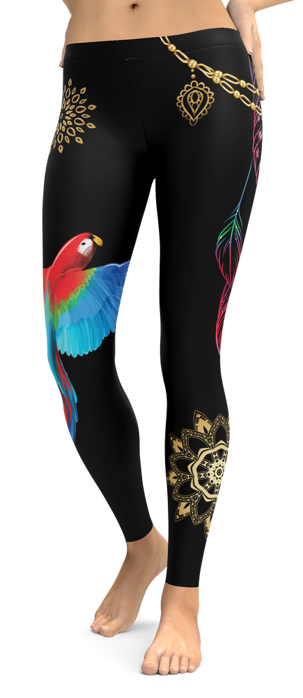 Beautiful Parrot Black Leggings