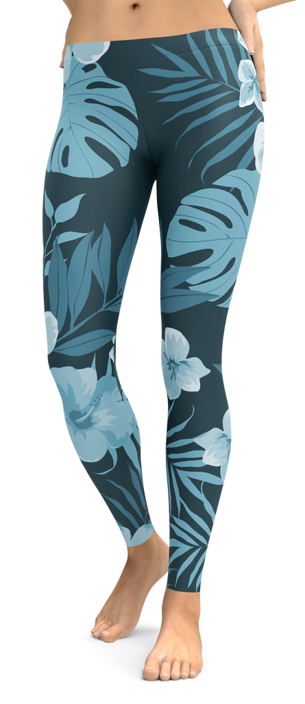 Blue Tones Tropical Flower Leggings