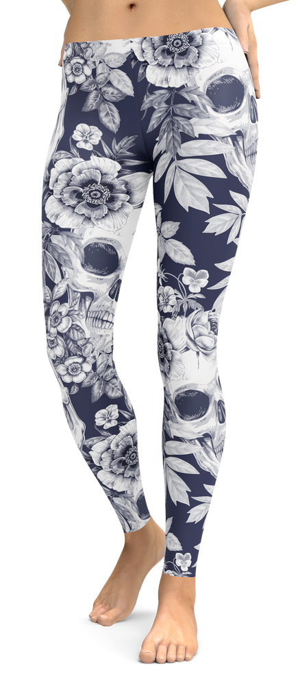 Tropical Skull Flower Leggings