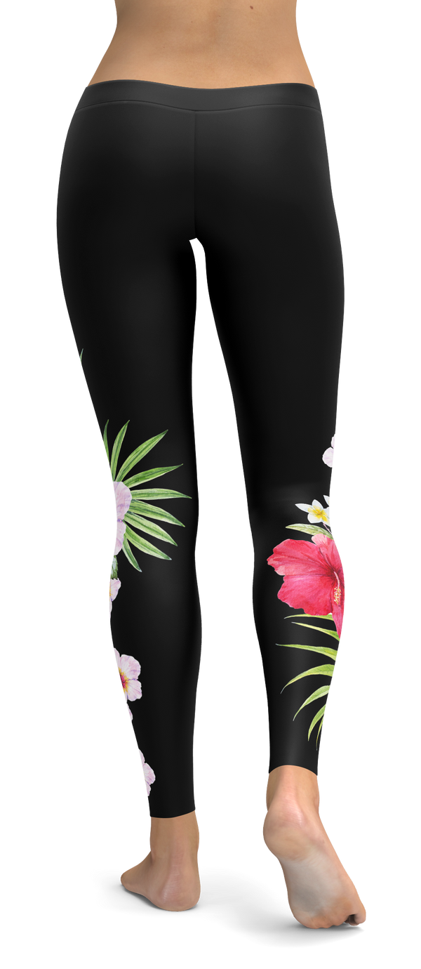 Beautiful Tropical Flowers Black Leggings