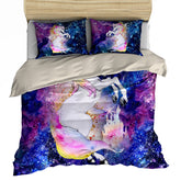 Rainbow Unicorn Stardust Bedding Set - Duvet, Pillow Cases [Twin / Queen / King Size]