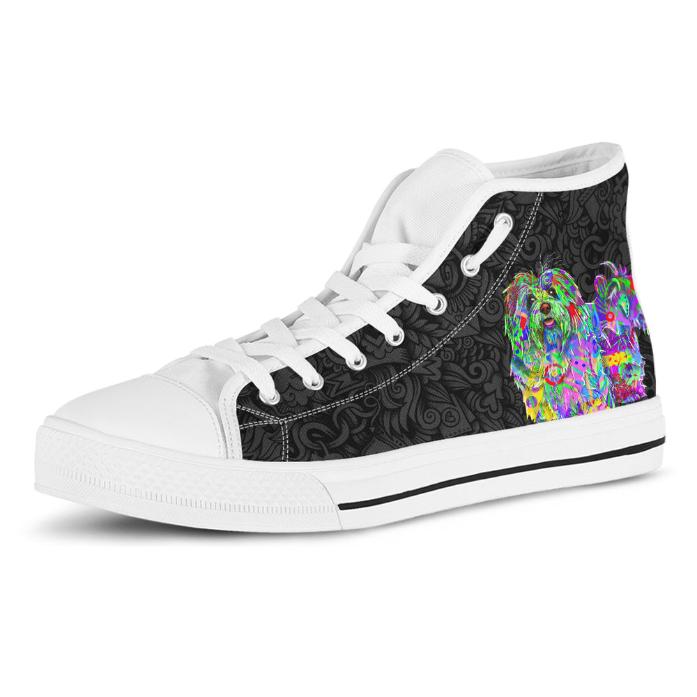 Bichon Havanese Women's Dog Breed High Top Canvas Shoes (Black Love Doodles)