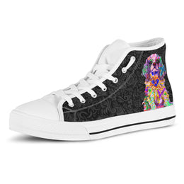 Cavalier King Charles Spaniel Women's Dog Breed High Top Canvas Shoes (Black Love Doodles)