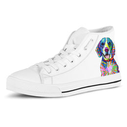Beagle Women's Dog Breed High Top Canvas Shoes (Pure White)