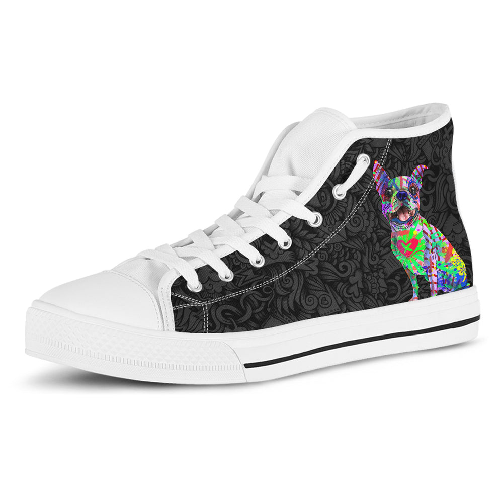 Boston Terrier Women's Dog Breed High Top Canvas Shoes (Black Love Doodles)