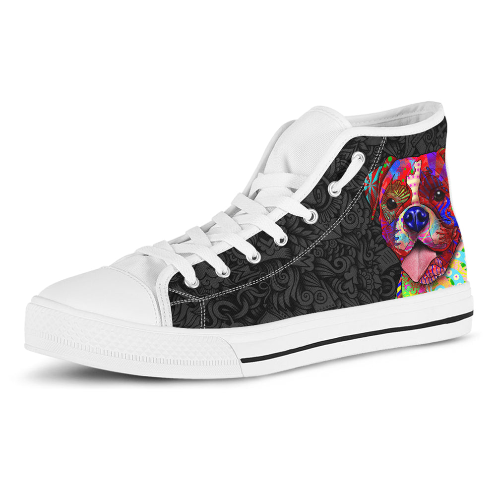 Boxer Women's Dog Breed High Top Canvas Shoes (Black Love Doodles)