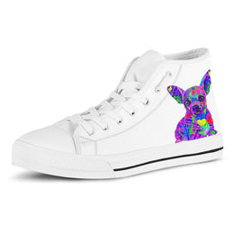 Chihuahua Women's Dog Breed High Top Canvas Shoes (Pure White)