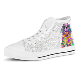 Cavalier King Charles Spaniel Women's Dog Breed High Top Canvas Shoes (Light Love Doodles)