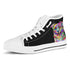 Australian Shepherd Dog Men's Plain Black High Top Canvas Shoes (White Sole)