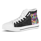 Australian Shepherd Women's Dog Breed High Top Canvas Shoes (Black Love Doodles)