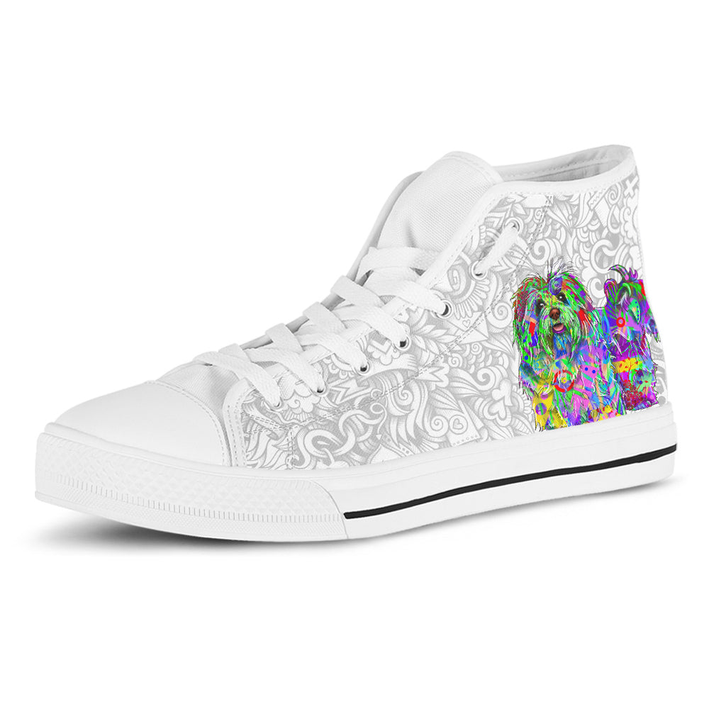 Bichon Havanese Women's Dog Breed High Top Canvas Shoes (Light Love Doodles)