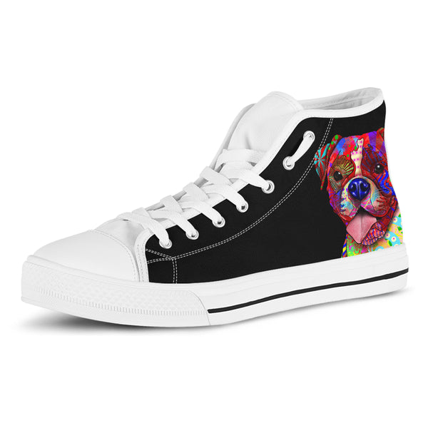 Boxer Women's Dog Breed High Top Canvas Shoes (Pure Black)
