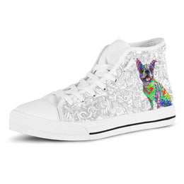 Boston Terrier Women's Dog Breed High Top Canvas Shoes (Light Love Doodles)