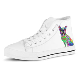 Boston Terrier Women's Dog Breed High Top Canvas Shoes (Pure White)