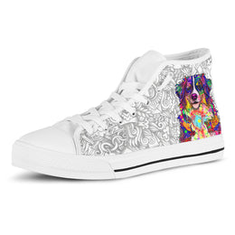Bernese Mountain Dog Women's Dog Breed High Top Canvas Shoes (Light Love Doodles)