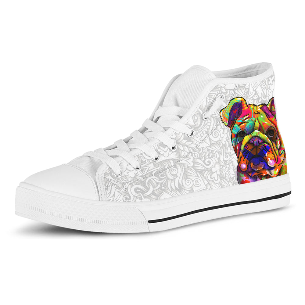 Bulldog Women's Dog Breed High Top Canvas Shoes (Light Love Doodles)