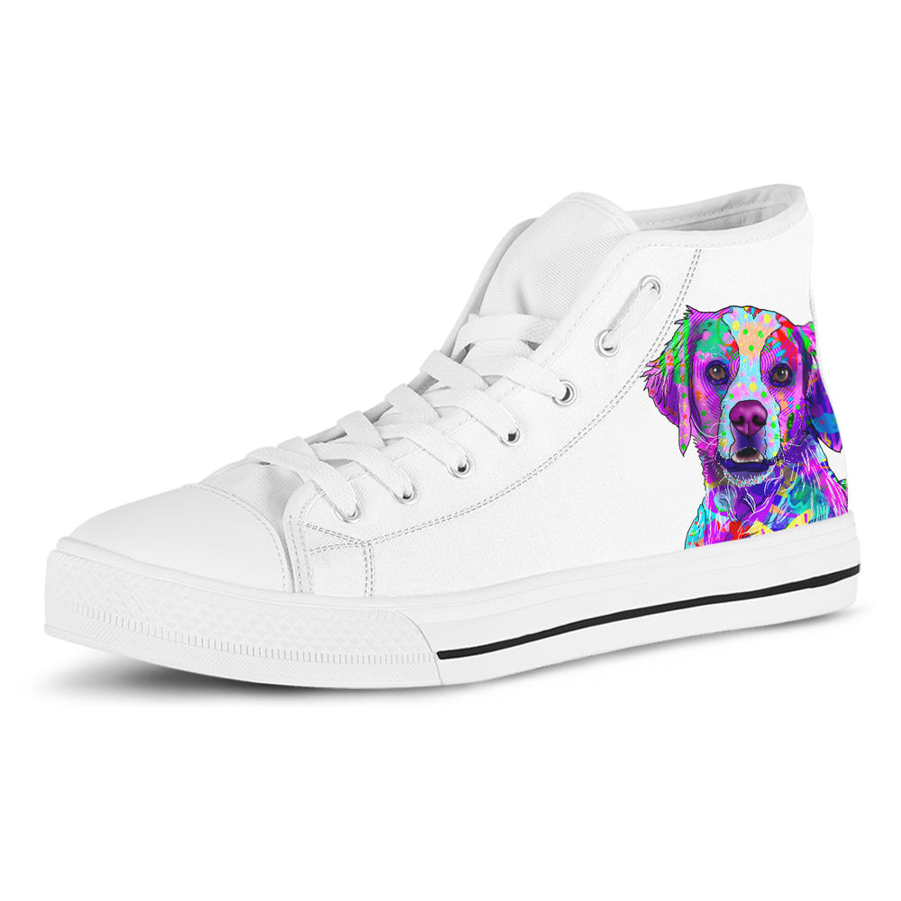 Brittany Women's Dog Breed High Top Canvas Shoes (Pure White)