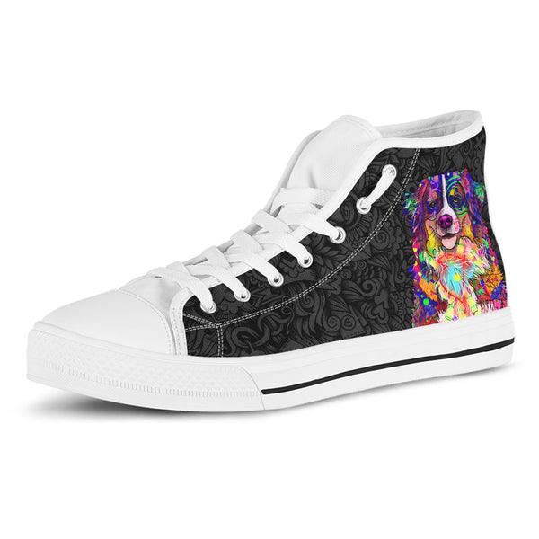Bernese Mountain Dog Women's Dog Breed High Top Canvas Shoes (Black Love Doodles)